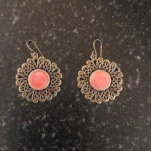 ^ Gold and Stone Earrings